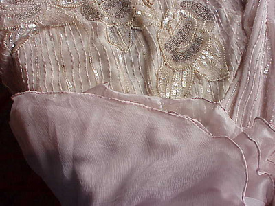 Pink Beaded hem against bodice