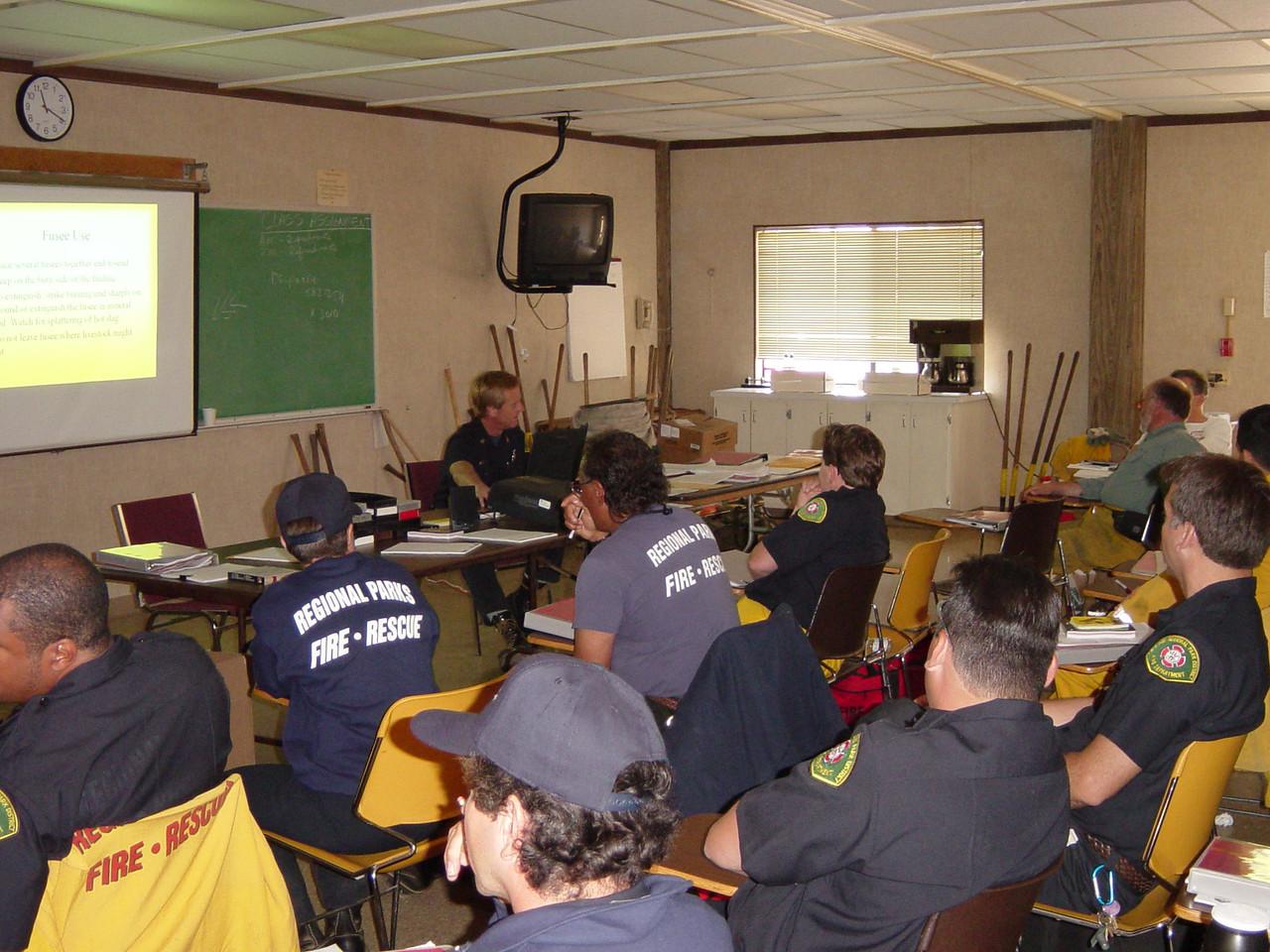 Firefighter classroom training