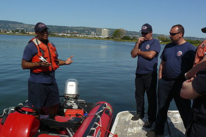 Firefighter boat operations training