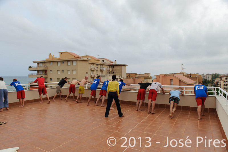 ECBU 2013. Calafell. Spain.<br /> Sidelines. France Grand Masters stretching.<br /> PhotoID : 2013-06-27-0319