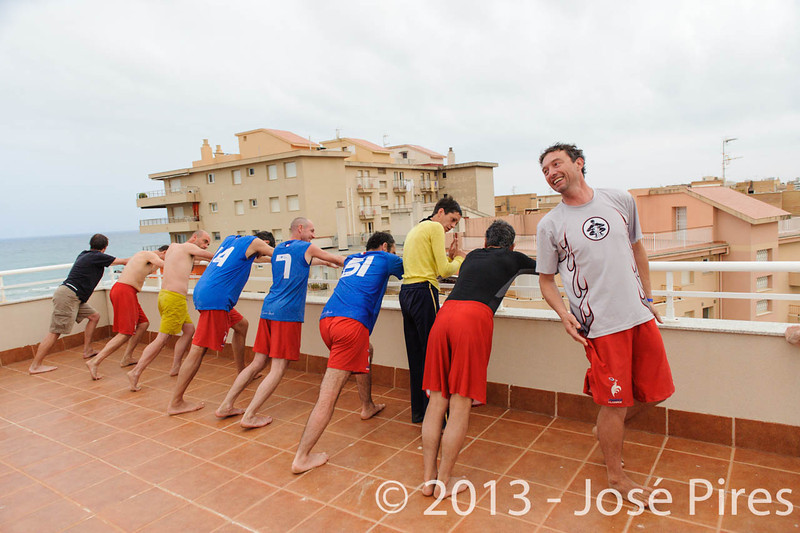 ECBU 2013. Calafell. Spain.<br /> Sidelines. France Grand Masters stretching.<br /> PhotoID : 2013-06-27-0317