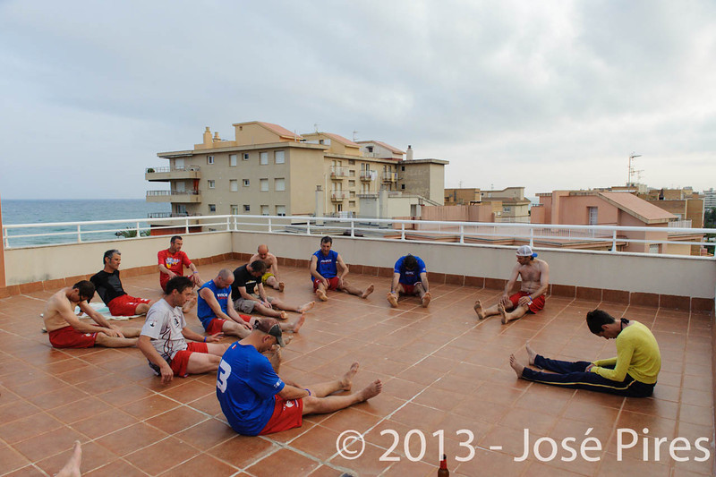 ECBU 2013. Calafell. Spain.<br /> Sidelines. France Grand Masters stretching.<br /> PhotoID : 2013-06-27-0301