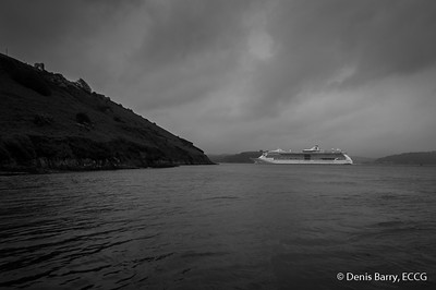The Cruise Liner, Serenade of the Seas departs Cork Harbour between Forts Davis (Carlisle) and Meagher (Camden).