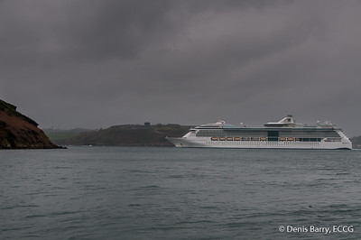 The Cruise Liner, Serenade of the Seas, departs Cork Harbour between Forts Davis (Carlisle) and Meagher (Camden).