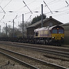 66102 heads 4E26 Dollands Moor - Scunthorpe empty steel through Tempsford on Easter Monday 1st April 2013