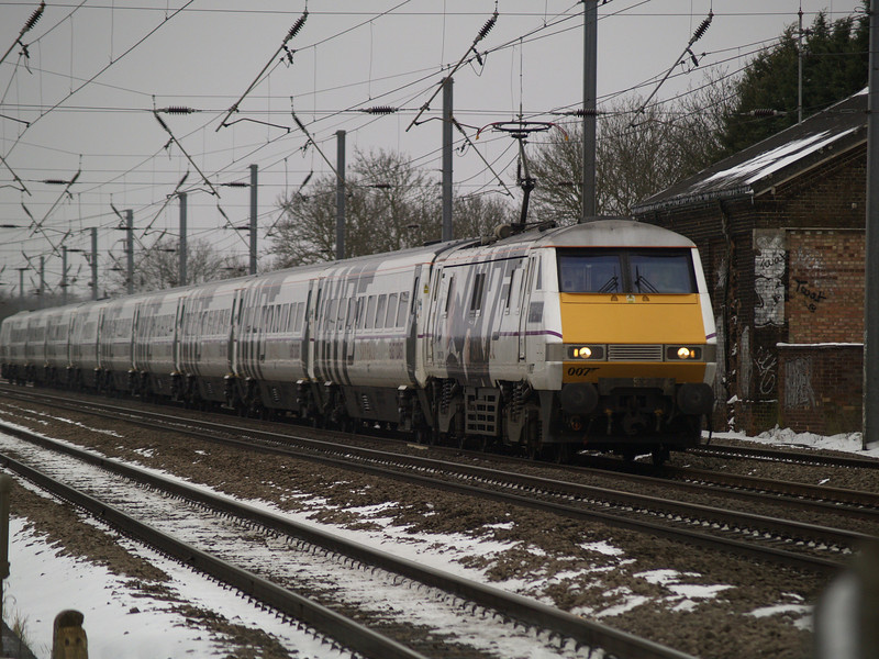 91007 leads the Skyfall set through Tempsford heading north on 24th March 2013
