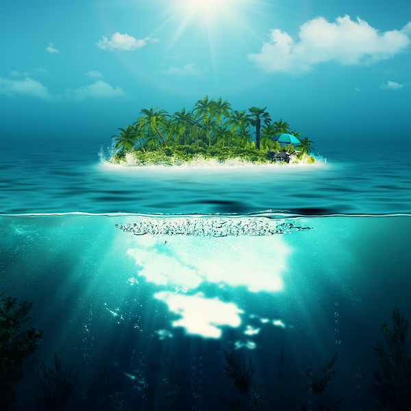 Alone island in the ocean, abstract environmental backgrounds