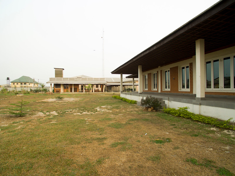 Wide shot of the rear view of the ATED building with the Cafeteria in the background