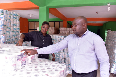 Icequeen limited supported by PIND trained Business Service Provider Bamidele Ayodele at her warehouse