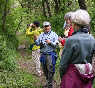 Scott Ruhren, Senior director of conservation at Audubon RI leads a walk through the refuge in Tiverton.
