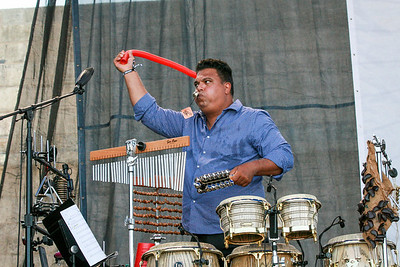 Roberto Quintero of the Dafnis Prieto Big Band tears it up at the Fort Stage.