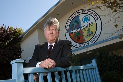 Attorney Timothy McKinley of the Greater Bakersfield Legal Assistance Inc., is photographed in front of McKinley Elementary School where he is working on the case of a boy that was expelled  in Bakersfield, CA on Nov. 4th, 2011.