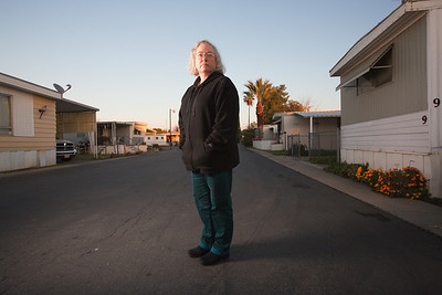 FRESNO,CA-- Dorothy Winn was a graphic designer for a printing firm that went out of business and has been jobless since April. Dorothy is photographed at her mobile home in North Fresno.