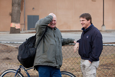 VISALIA,CA--Charles Taylor, lf, shares a laugh with Executive Director, Danny Little in front of the new offices at the Visalia Rescue Mission.