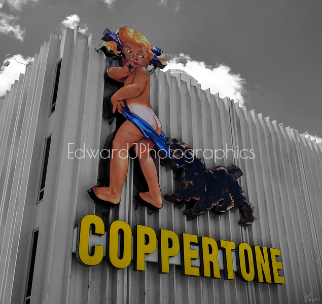 Coppertone on a wall...