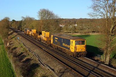 73119 tnt 73109 working 3Y90 1213 Tonbridge west yard to Purley SITT at Merle Common on East Grinstead line on 26 February 2021  Class73, GBRf, EastGrinsteadLine