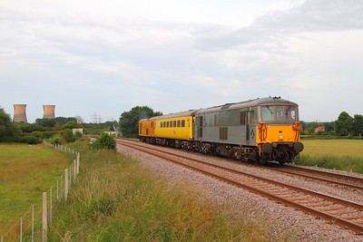 73107 tnt 73138 on the 1Z13 Derby to Crewe at Willington on the Uttoxeter line on the 26th June 2014