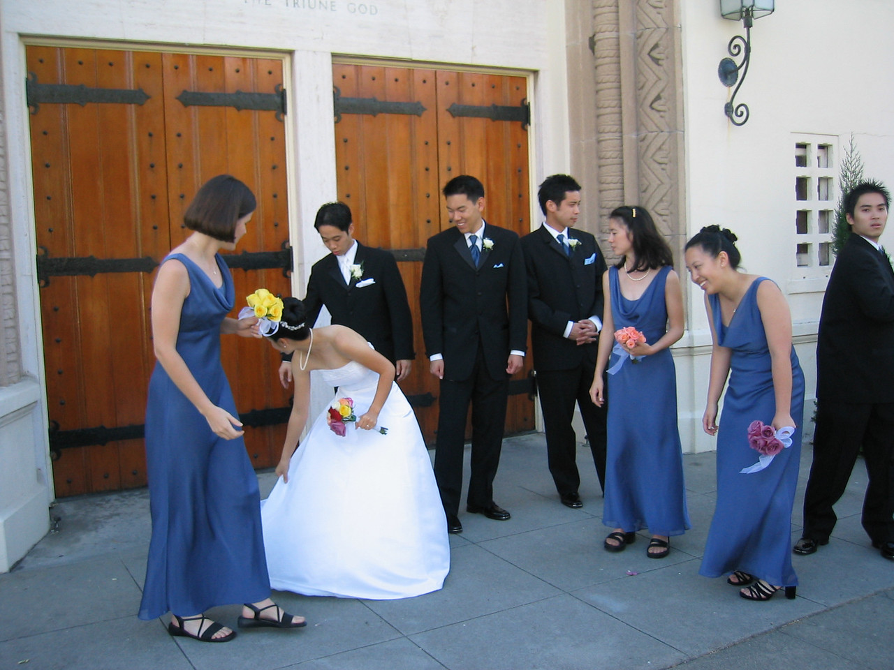 Photo shoot outside Grace Lutheran Church - Wedding Party looks for rest of dress