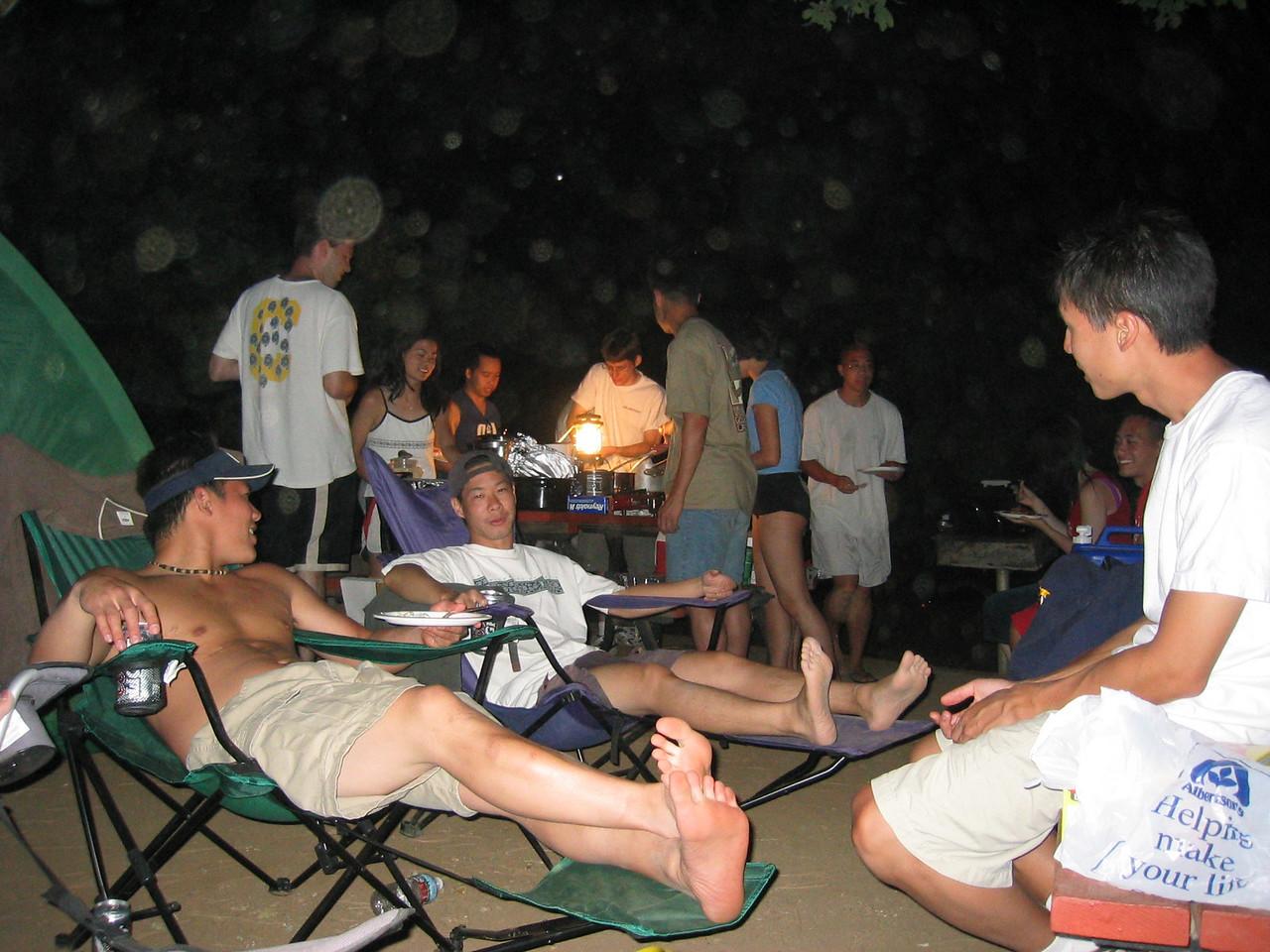 2003 08 16 Saturday - Lake Berryessa Trip, Johnny Lin, Joe Sun, Dave Lee et  al  at campsite