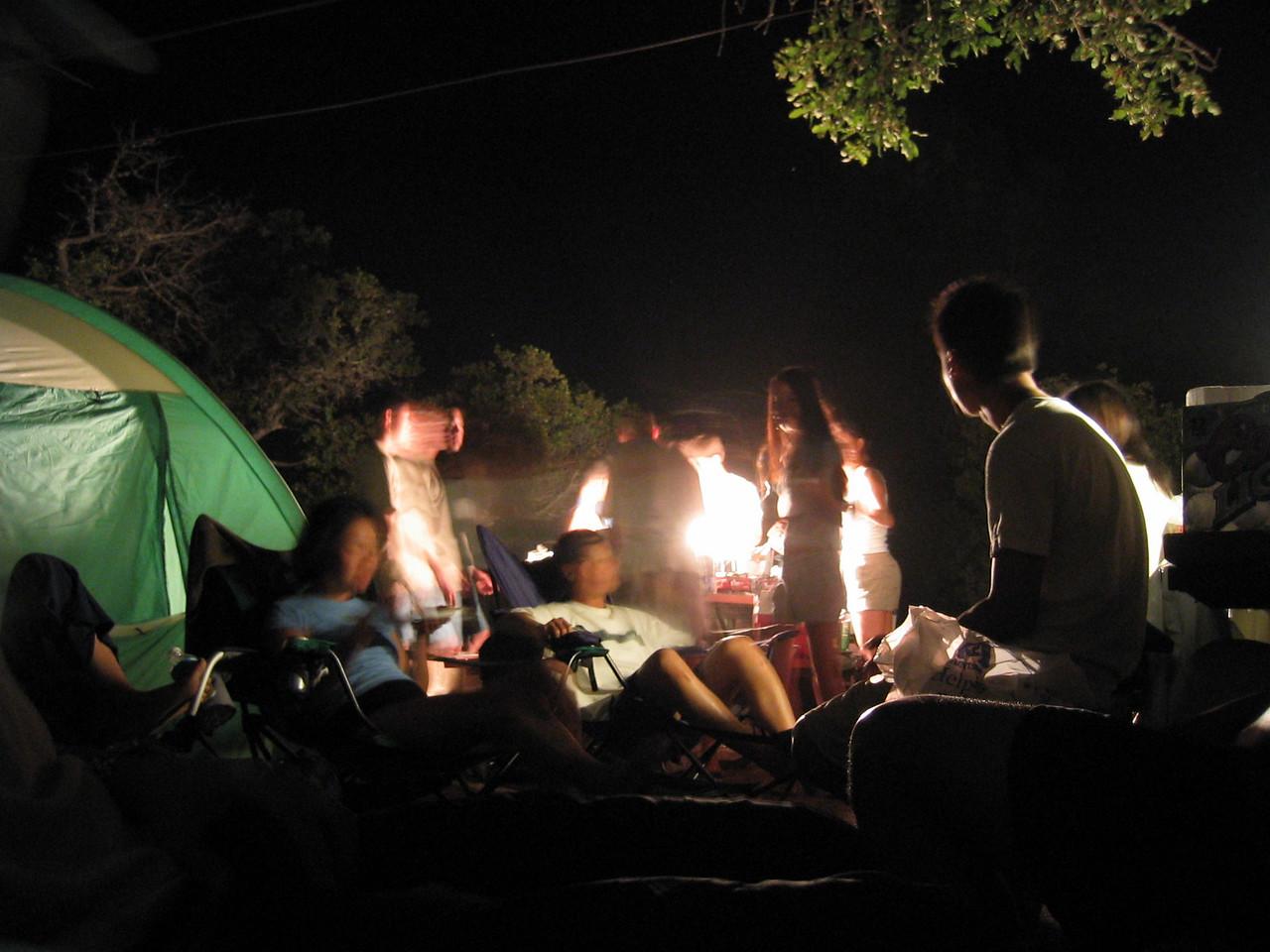 2003 08 16 Saturday - Lake Berryessa Trip, blurred food table and campsite