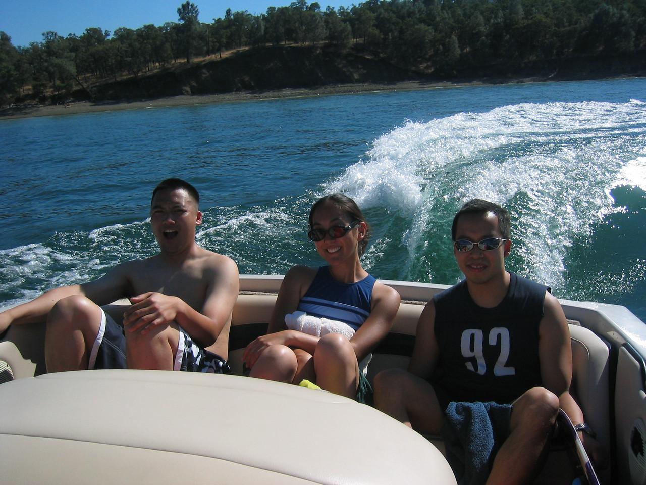 2003 08 16 Saturday - Lake Berryessa Trip, Alan Su, Cheryl & Brittany's friend, & Johnny Dong on speedboat