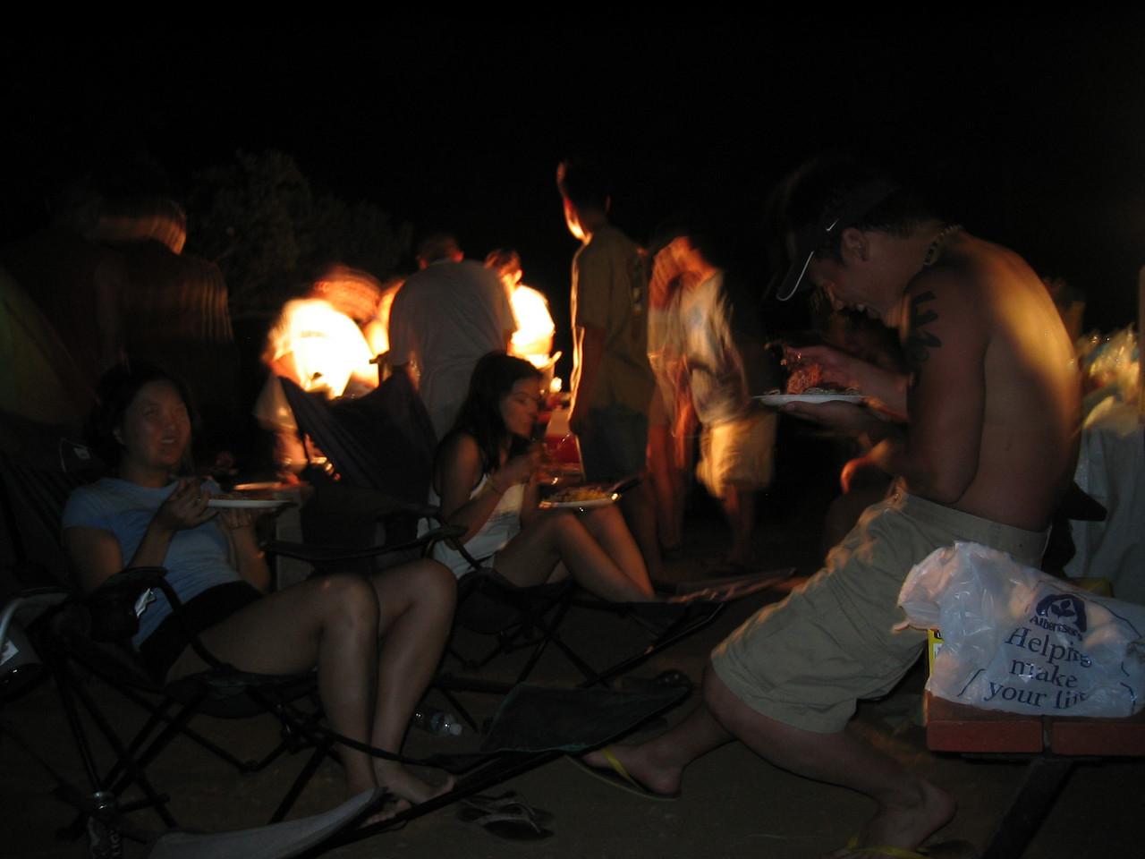2003 08 16 Saturday - Lake Berryessa Trip, blurred Cheryl Hsih, Audrey Wu, & Johnny Lin