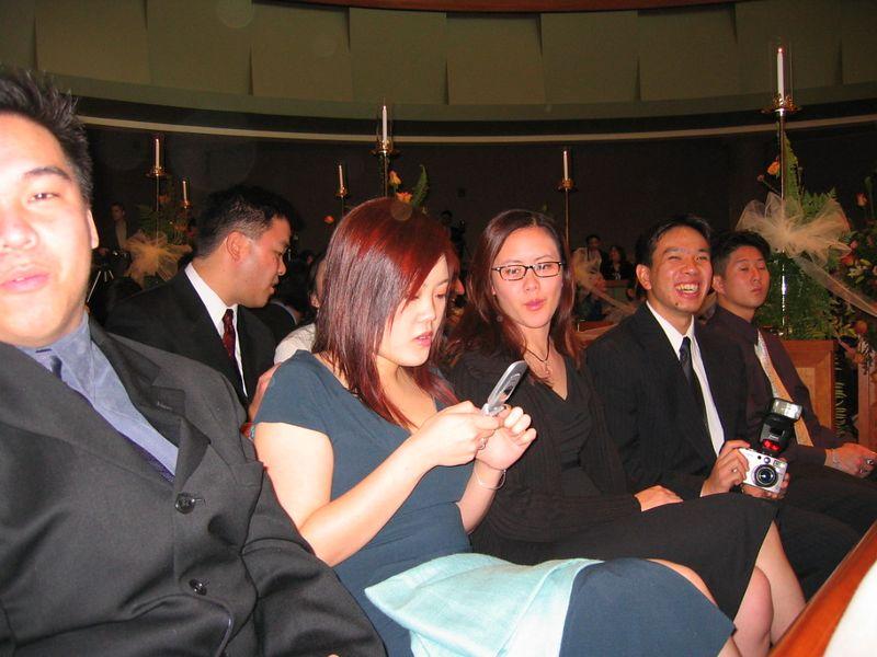 In the pews - Lawrence Joe, Maggie, Joanna, & Joe Chen