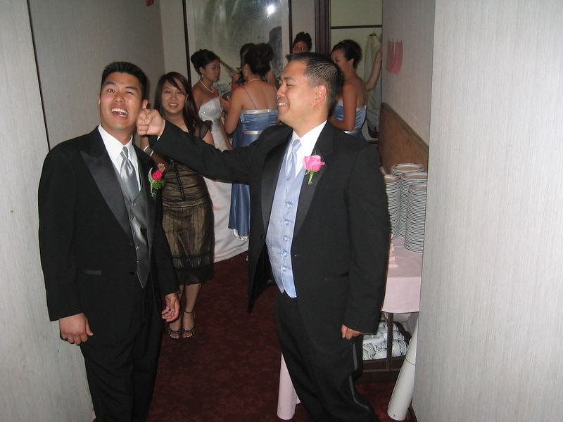 Reception - Groomsman Harry Huang wakes up the groom