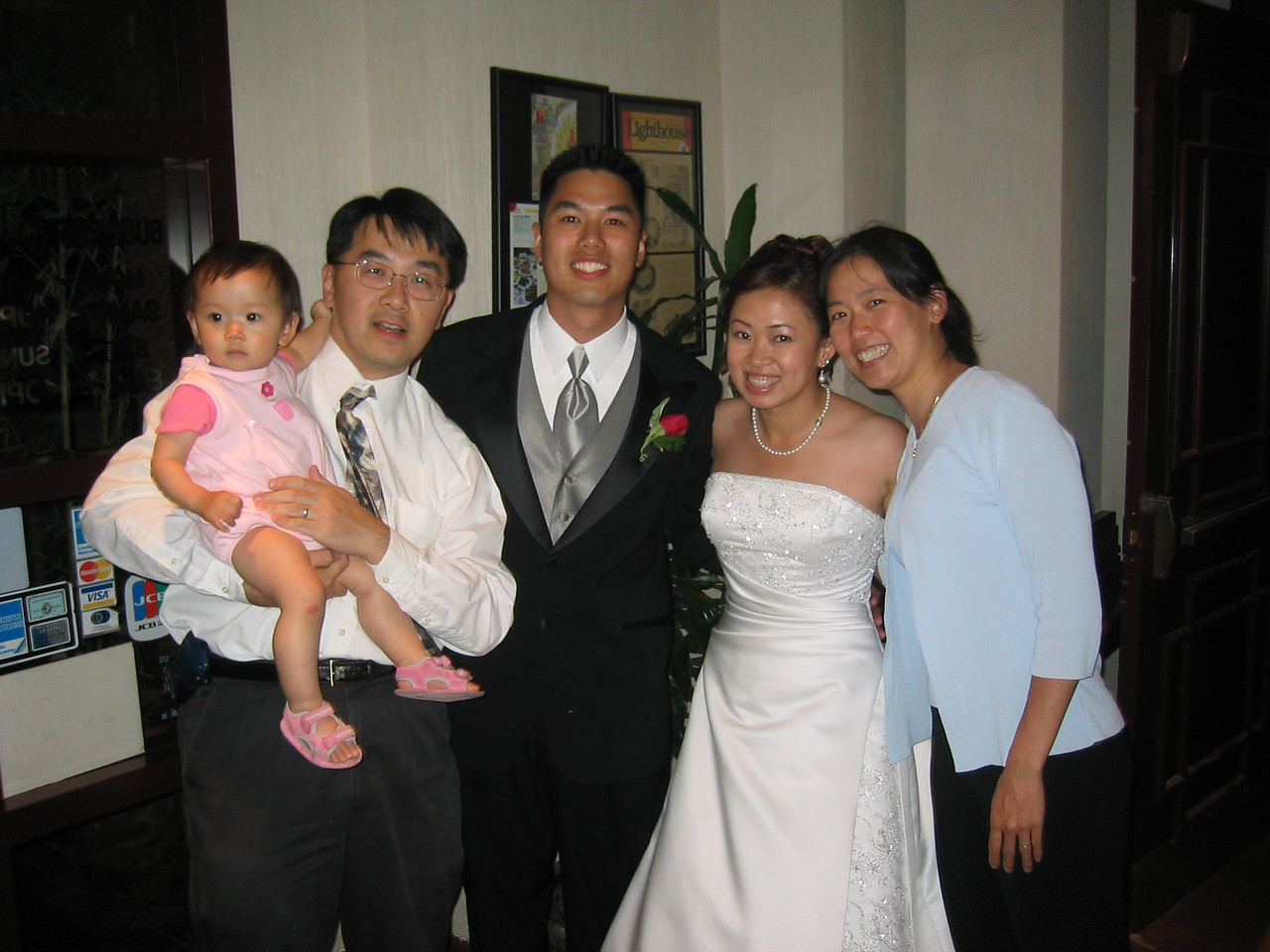 Reception - Ally, Brian, & Jenny Chiang with bride & groom