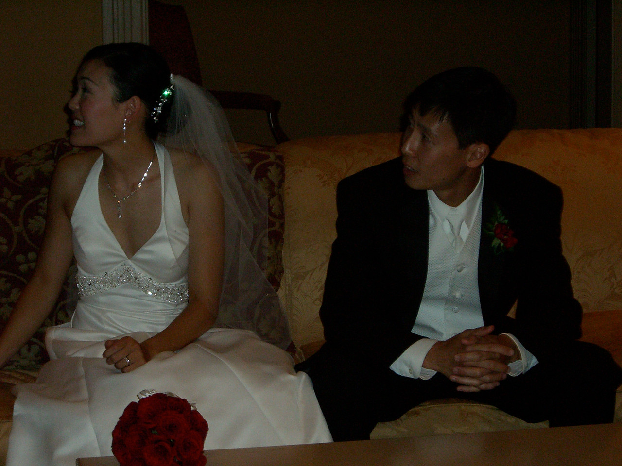 Bride & Groom waiting to enter - with flash