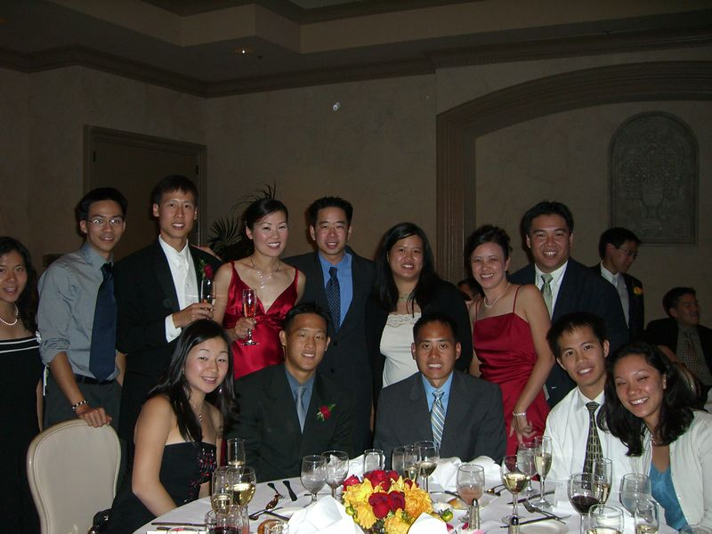 Table pic with bride & groom - EFC-Harvest Berkeley class of '99