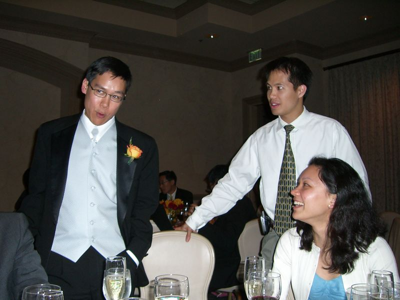 Best man Steve Lee, Sam Chung, and Emy Chen