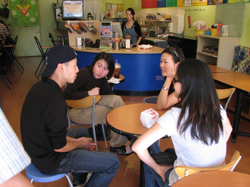 2006 10 07 Sat - Old EFC'ers post lunch boba @ Café Verde in MV - Dave Lee, Susan Lien, Leslie Lee, & Bernice Chen