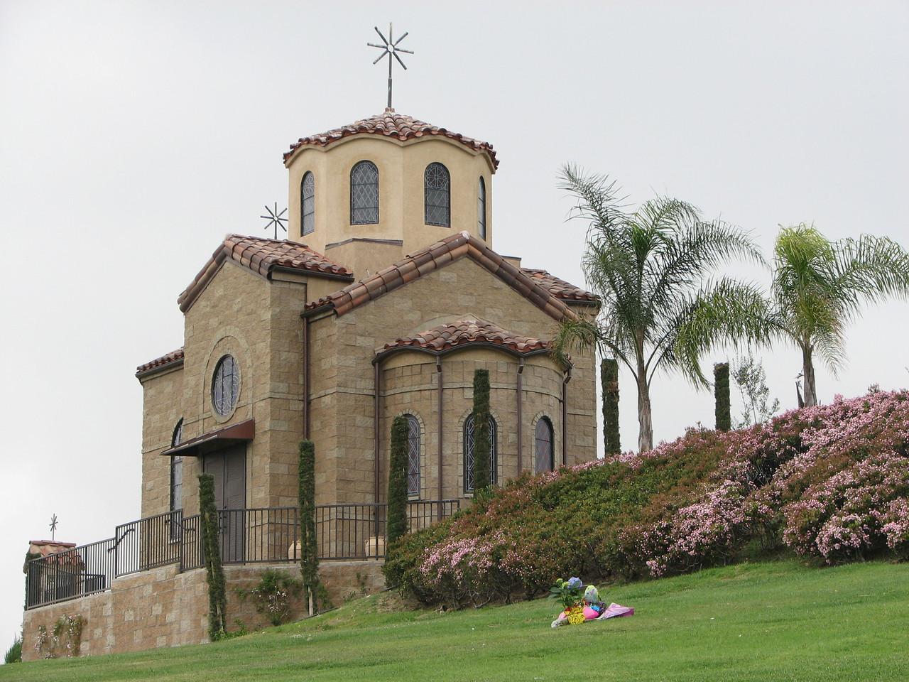 2007 03 26 Mon - Dan Nguyen's gravesite @ Rose Hills cemetary - with chapel 1