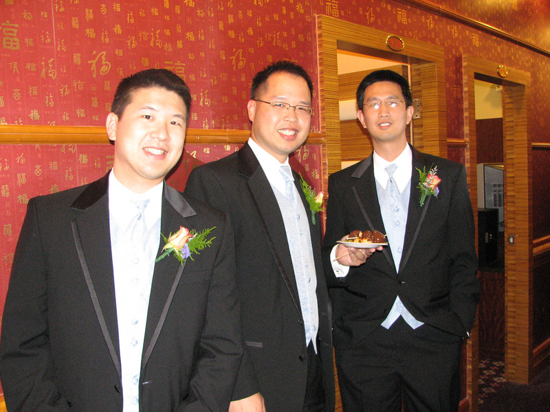 2007 05 19 Sat - Reception - Groomsmen with flash - Eric Hsieh, Jeff Lin, & Ben Liu
