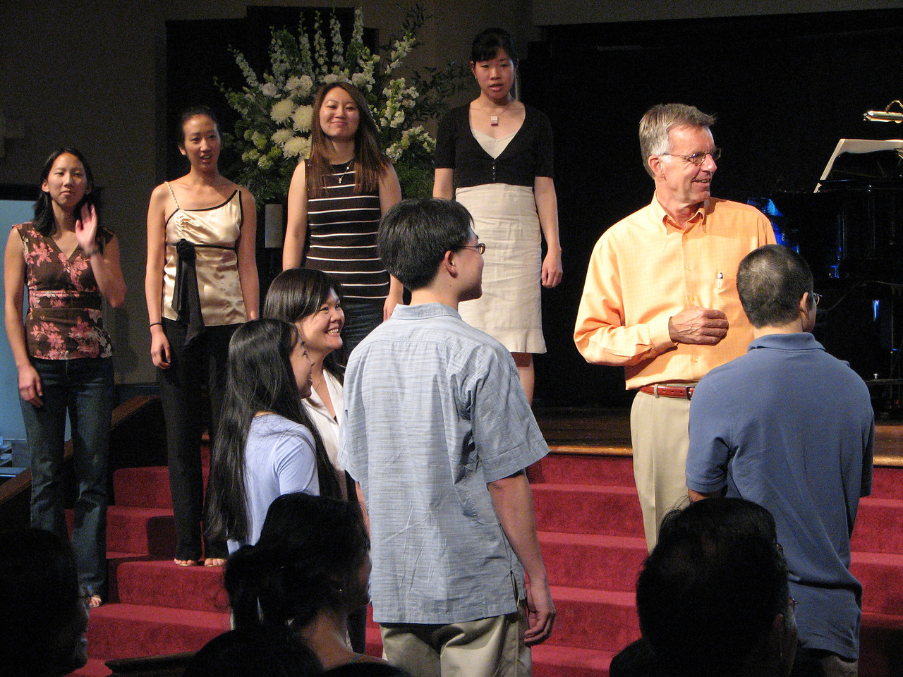 2007 05 18 Fri - Rehearsal - Bridesmaids, bride, pastor, groom, & best man
