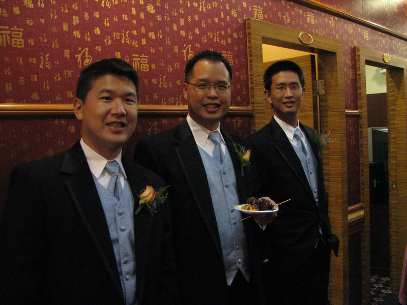 2007 05 19 Sat - Reception - Groomsmen without flash - Eric Hsieh, Jeff Lin, & Ben Liu