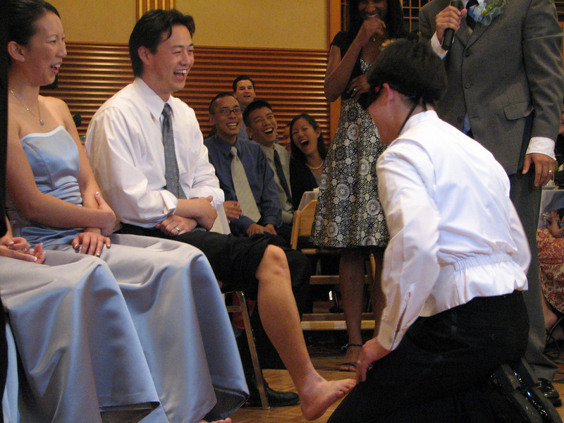 2007 05 19 Sat - Reception - Stephen Chang feels bridesmaids' feet 3 - Pastor Josh replaces bride