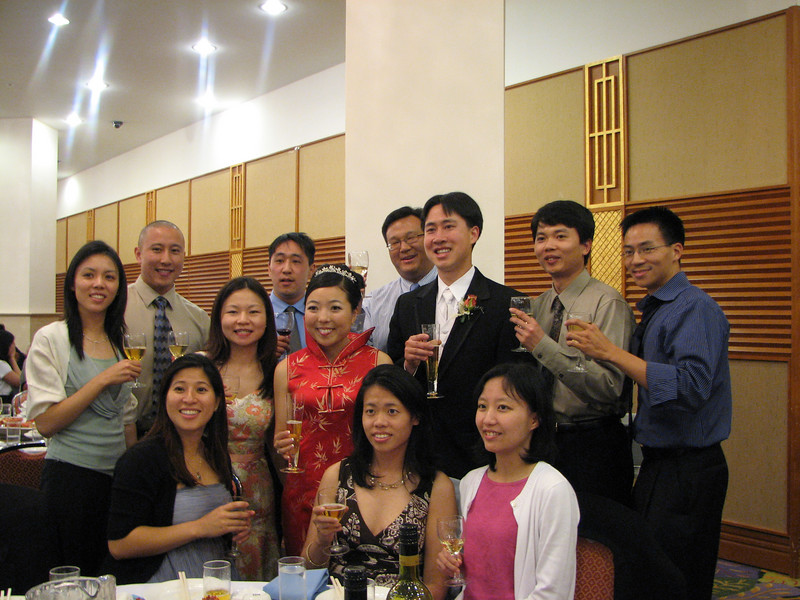 2007 05 19 Sat - Reception - EFC-Harvest elders table toast with bride & groom 1