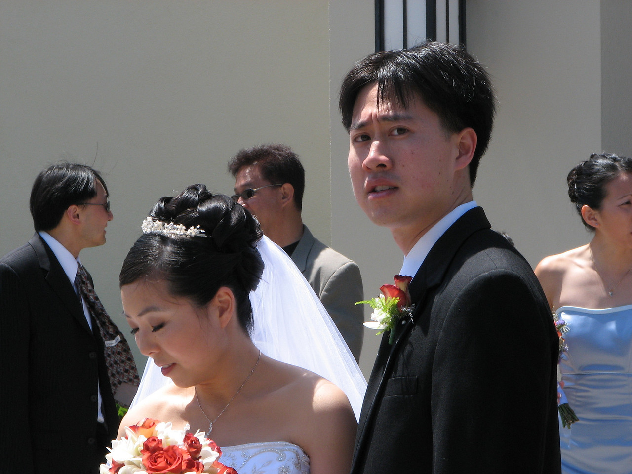 2007 05 19 Sat - Stephen & Cynthia Chang outside church 3 - Steve doesn't look happy with me