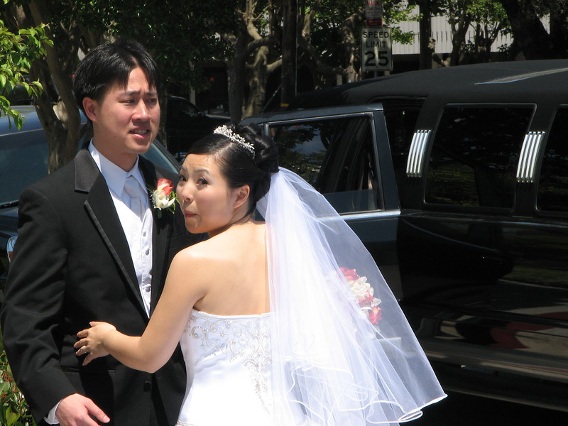 2007 05 19 Sat - Stephen & Cynthia Chang outside church 8 - Bride, groom, & limo 2
