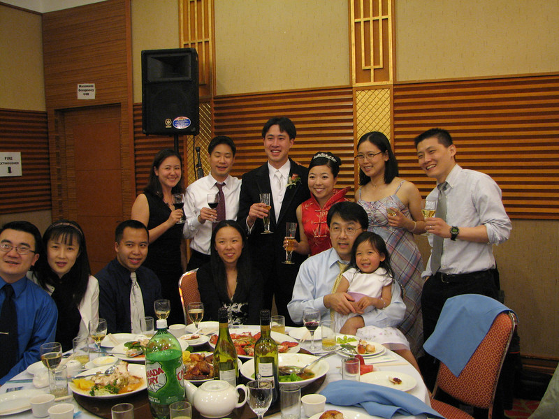 2007 05 19 Sat - Reception - EFC-Harvest even elders table toast with bride & groom 2