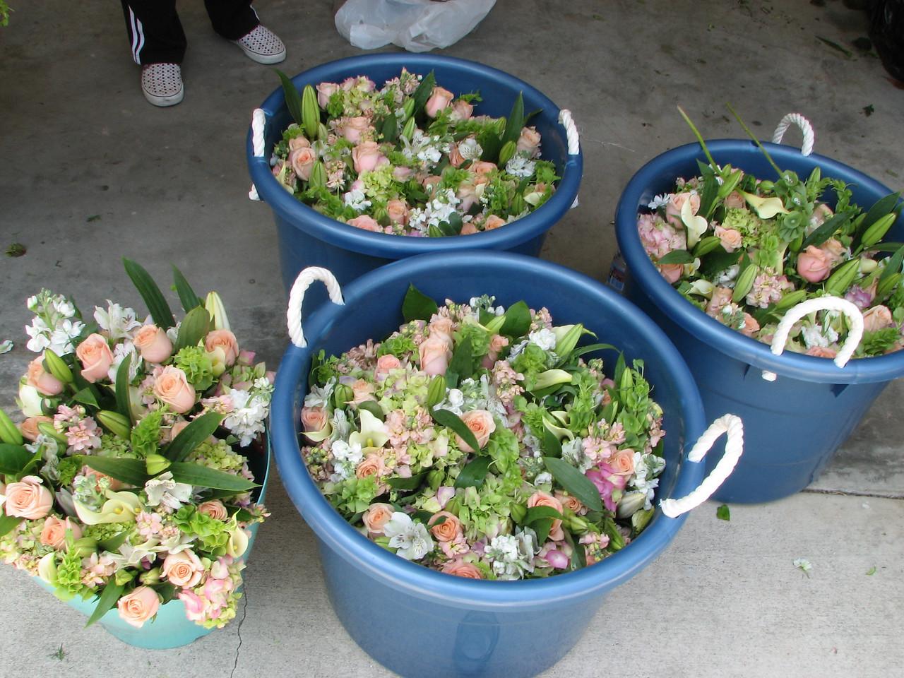 2007 06 09 Sat - Pew bouquets awaiting prep