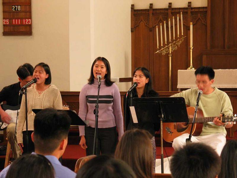 Steve Chang, Amy Wung, Brittany, Audrey, & Ben @ Harvest Berkeley Easter Service 2003