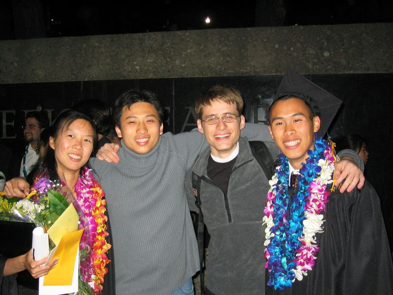MCB graduation 2003 - Grace Kwan, Wing, Cory, & Steve Hu, Friday 5 23 2003