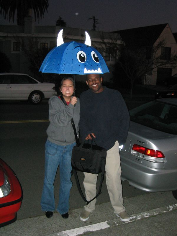 Jenny Wei, Marc Rice, and Jenny's ridiciculously cool umbrella