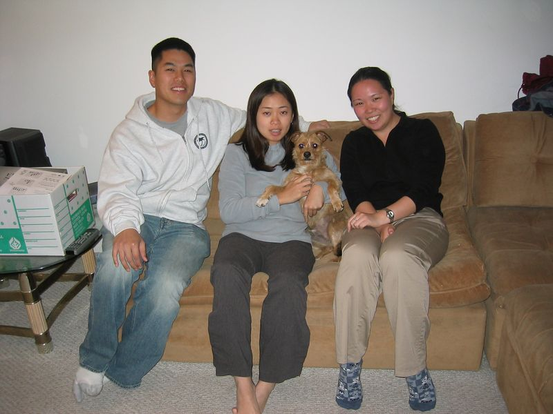 2004 02 03 Tuesday - Johnny, Julie, Eliza, & Benji @ Julie Hu's Pasadena Condo