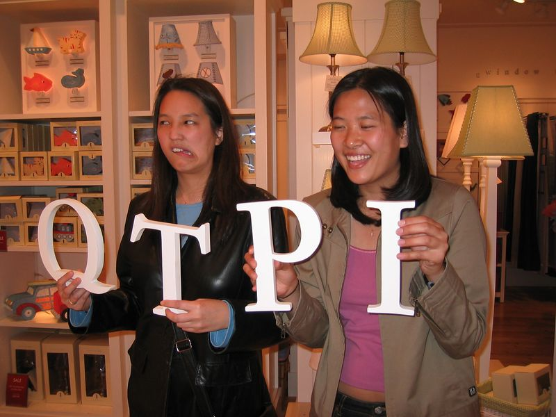 Jenny & Carol's fun with Pottery Barn letters, 4-19-2003