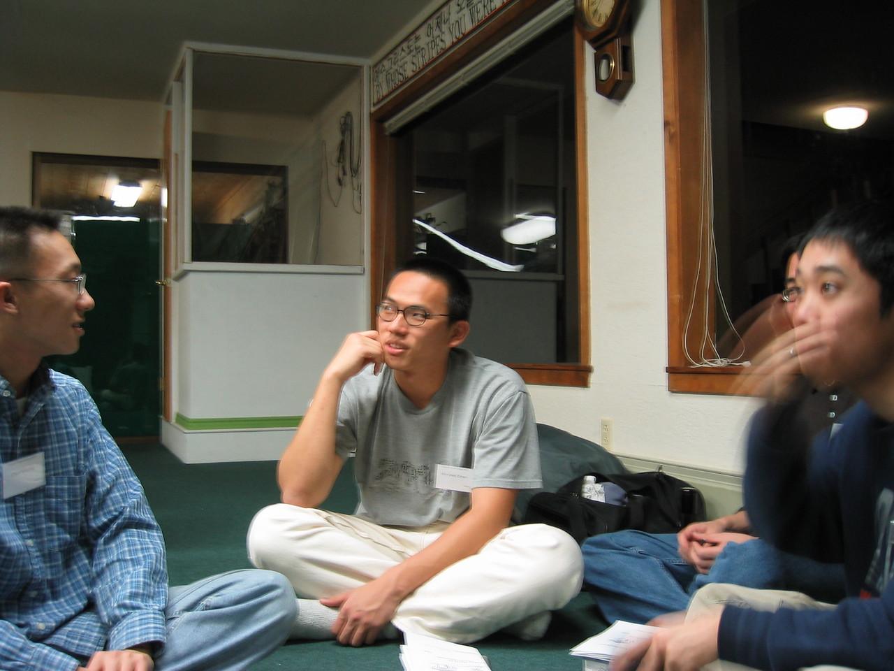 Friday Night Small Groups - Dan, Po-wei, Steve, & Andy pickin' his nose