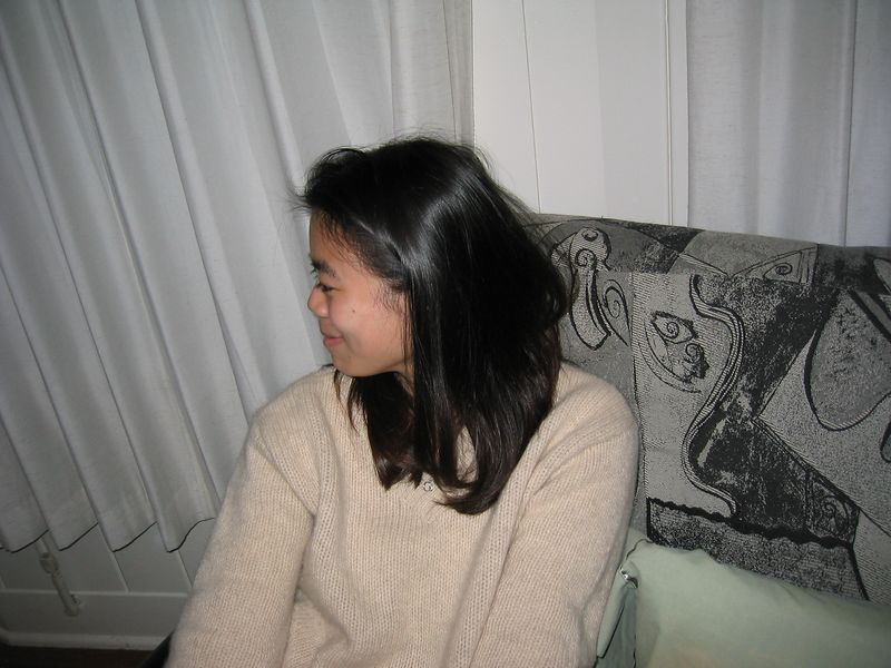 2002 12 14 Saturday - Camera shy Annie Chang